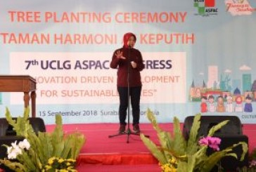 Penanaman 100 Pohon Di Taman Harmoni Turut Menandai Prosesi UCLG ASPAC Ke 7 di Surabaya